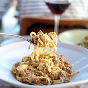 Cucinetta: Homemade fettuccine with veal ragù slow-cooked in full cream milk