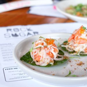 Rock Sugar: Smoked ocean trout betel leaf
