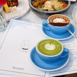 Whitehorse Chloe: Matcha latte and mocha