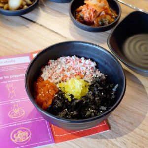 Masizzim: Crabmeat and fish roe rice ball
