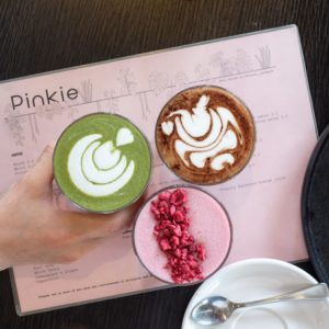 Pinkie: Matcha latte + Mocha + Hibiscus and beetroot latte