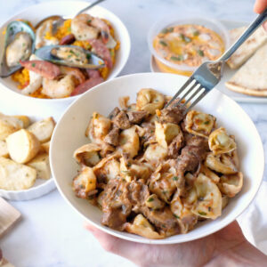 Porters: Ricotta and spinach tortellini with braised lamb